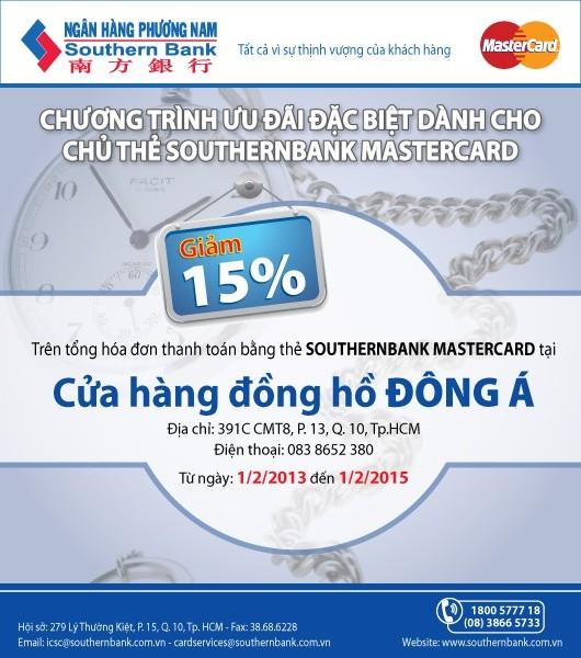 Sở hữu đồng hồ cực xinh với ưu đãi hấp dẫn khi thanh toán bằng thẻ Southernbank MasterCard