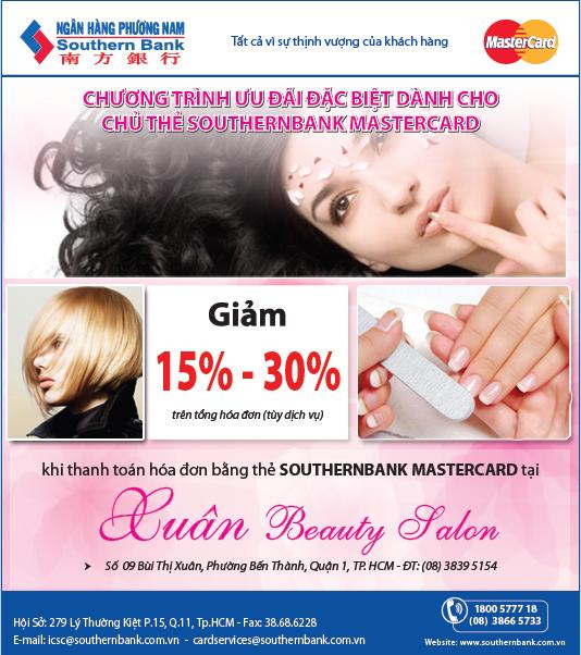 Ưu đãi đặc biệt tại Xuân Beauty Salon dành cho chủ thẻ Southernbank MasterCard