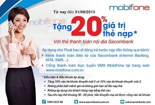 MobiFone khuyến mại 20% với chủ thẻ Sacombank khi nạp thẻ