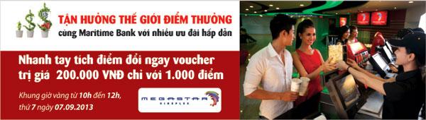 Tích lũy điểm thưởng cùng Maritimebank nhận Voucher 200.000VND tại Megastar