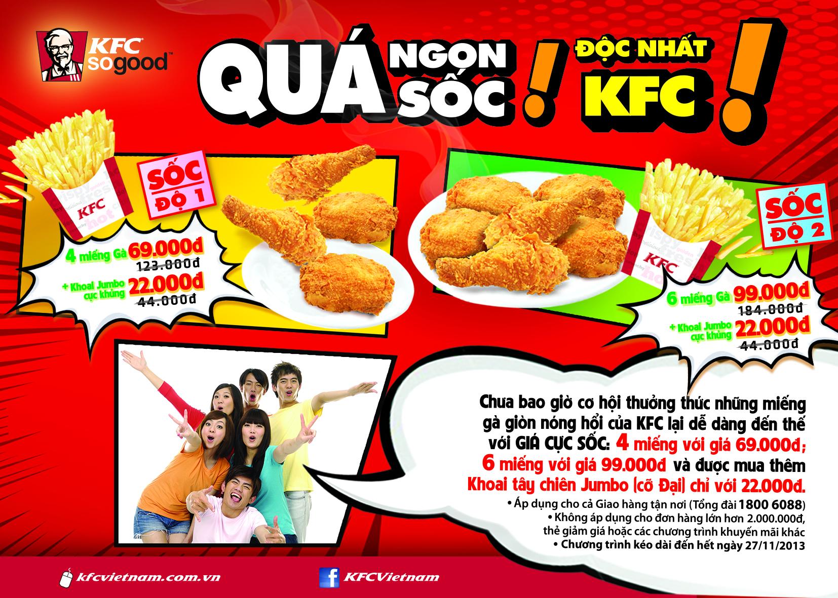 KFC khuyến mãi cực sốc chỉ với 16,500vnd/1 miếng gà