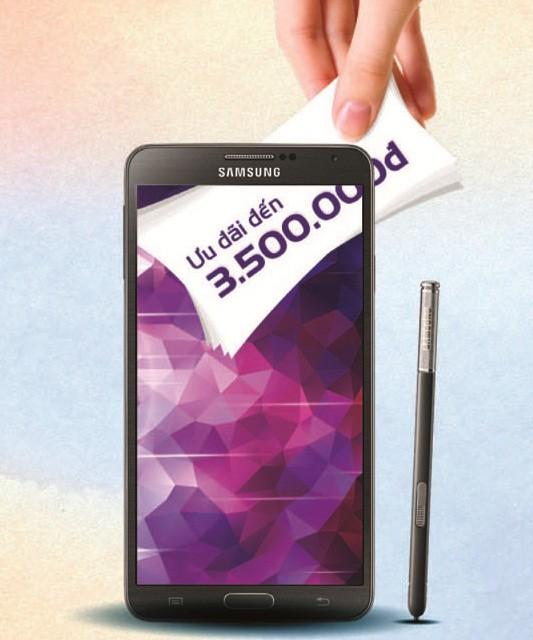 Khuyến mãi hấp dẫn lên đến 3.500.000 đồng khi mua điện thoại Samsung Galaxy Note 3