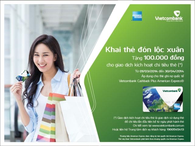 Kích hoạt thẻ ghi nợ Vietcombank đón lộc xuân hấp dẫn