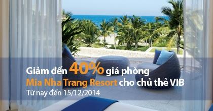 Resort Nha Trang giảm giá phòng cho thẻ VIB tại Mia Nha Trang Resort